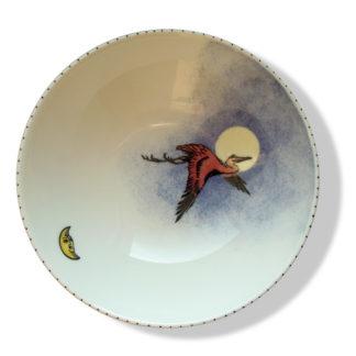 Kranich und Mond als Porzellanmalerei